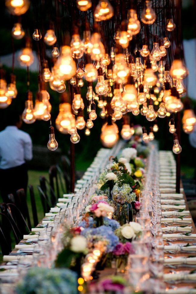 decoración con bombillas para bodas