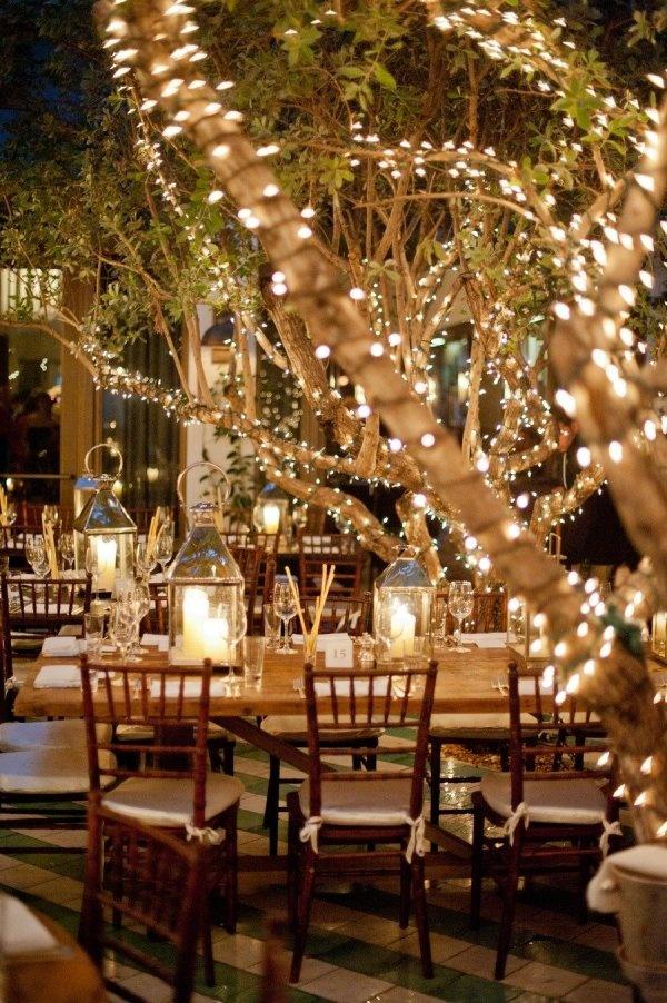 iluminar árboles en boda