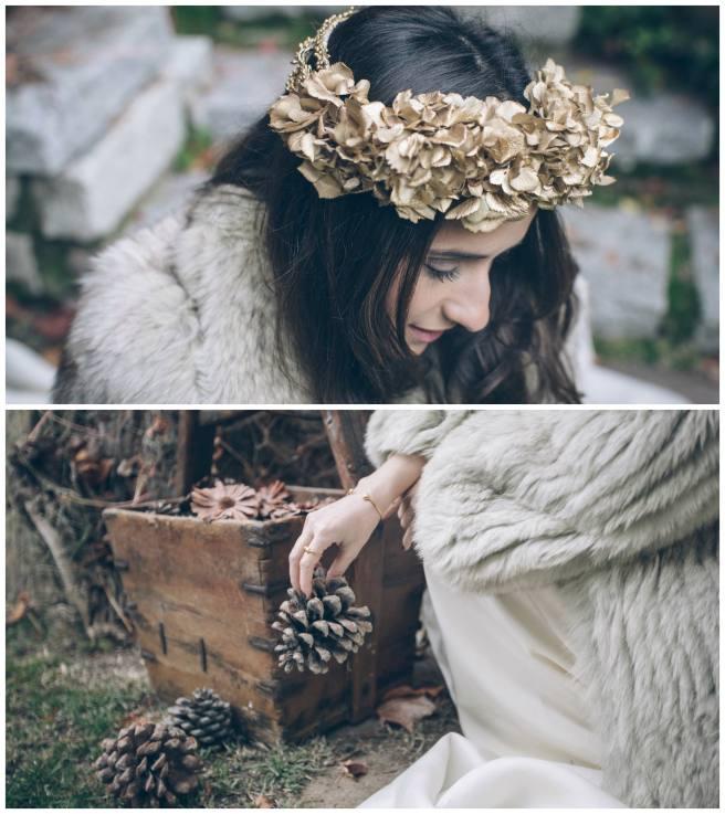 corona de flores dorada para novias