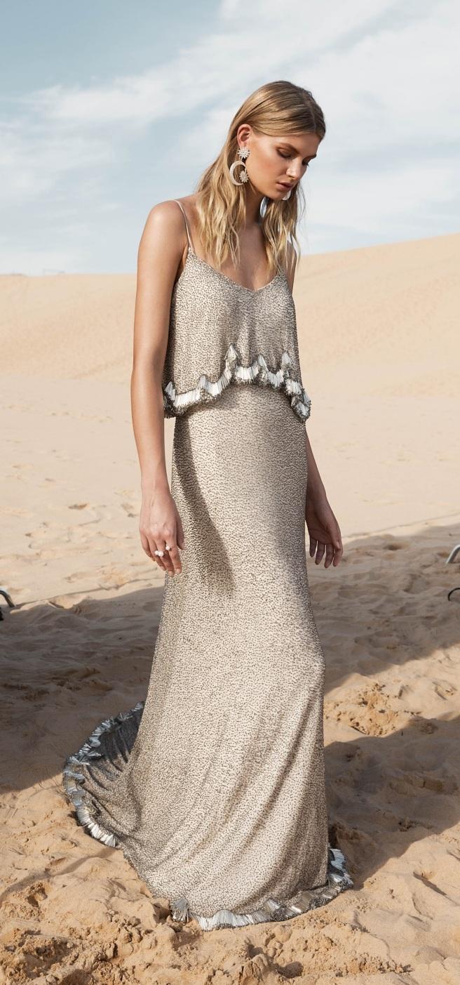 vestido novia color beig